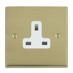 Hamilton Cheriton Victorian Polished Brass 1 Gang 13A Unswitched Socket with White Insert