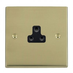 Hamilton Cheriton Victorian Polished Brass 1 Gang 2A Unswitched Socket with Black Insert