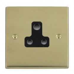 Hamilton Cheriton Victorian Polished Brass 1 Gang 5A Unswitched Socket with Black Insert