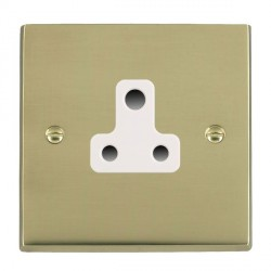 Hamilton Cheriton Victorian Polished Brass 1 Gang 5A Unswitched Socket with White Insert