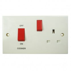 BG White PVC 45amp Double Pole Cooker Control
