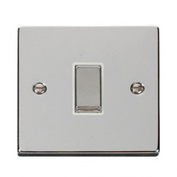 Click Deco Victorian Polished Chrome 1 Gang Intermediate Ingot 10AX Switch with White Insert