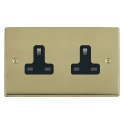 Hamilton Cheriton Victorian Polished Brass 2 Gang 13A Unswitched Socket with Black Insert