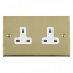 Hamilton Cheriton Victorian Polished Brass 2 Gang 13A Unswitched Socket with White Insert