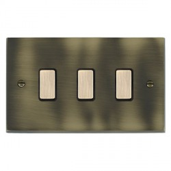 Hamilton Cheriton Victorian Antique Brass 3 Gang Multi way Touch Master Trailing Edge with Black Insert
