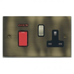 Hamilton Cheriton Victorian Antique Brass 1 Gang Double Pole 45A Red Rocker + 13A Switched Socket with Bl...