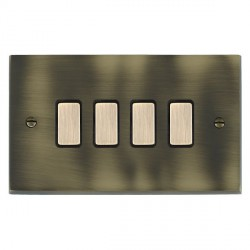 Hamilton Cheriton Victorian Antique Brass 4 Gang Multi way Touch Master Trailing Edge with Black Insert