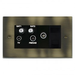 Hamilton Cheriton Victorian Antique Brass TV+FM+SAT+SAT (DAB Compatible)+TV+TCS (DAB Compatible) with Black Insert