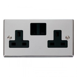 Click Deco Victorian Polished Chrome 2 Gang 13A Switched Socket