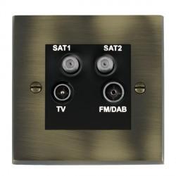 Hamilton Cheriton Victorian Antique Brass TV+FM+SAT+SAT (DAB Compatible) with Black Insert