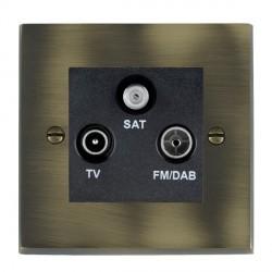 Hamilton Cheriton Victorian Antique Brass TV+FM+SAT (DAB Compatible) with Black Insert