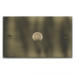 Hamilton Cheriton Victorian Antique Brass Push On/Off Dimmer 1 Gang 2 way 1000W with Antique Brass Insert