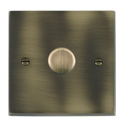 Hamilton Cheriton Victorian Antique Brass Push On/Off Dimmer 1 Gang 2 way Inductive 200VA with Antique Brass Insert
