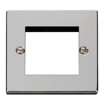 Click Deco Victorian Polished Chrome Single Plate Twin Media Module Aperture