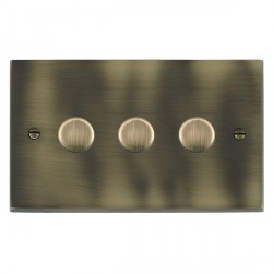 Hamilton Cheriton Victorian Antique Brass Push On/Off Dimmer 3 Gang 2 way 400W with Antique Brass Insert