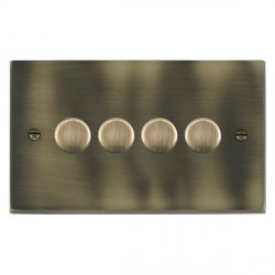 Hamilton Cheriton Victorian Antique Brass Push On/Off Dimmer 4 Gang 2 way 400W with Antique Brass Insert