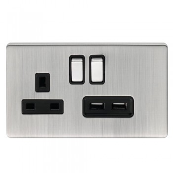 Eurolite Low Profile Concealed Fix Satin Nickel 13A Switched Socket and USB Charger with Matching Rockers and Black Insert