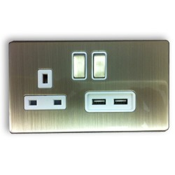 Eurolite Low Profile Concealed Fix Satin Nickel 13A Switched Socket and USB Charger with Matching Rockers and White Insert