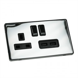 Eurolite Low Profile Concealed Fix Polished Chrome 13A Switched Socket and USB Charger with Matching Rock...