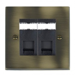 Hamilton Cheriton Victorian Antique Brass 2 Gang RJ45 Outlet Cat 5e Unshielded with Black Insert