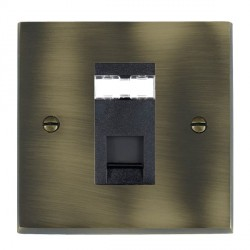 Hamilton Cheriton Victorian Antique Brass 1 Gang RJ45 Outlet Cat 5e Unshielded with Black Insert