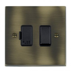 Hamilton Cheriton Victorian Antique Brass 1 Gang 13A Fused Spur, Double Pole with Black Insert