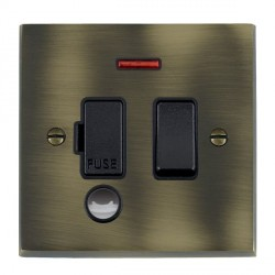 Hamilton Cheriton Victorian Antique Brass 1 Gang 13A Fused Spur, Double Pole + Neon + Cable Outlet with Black Insert
