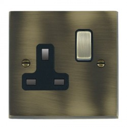 Hamilton Cheriton Victorian Antique Brass 1 Gang 13A Switched Socket - Double Pole with Black Insert