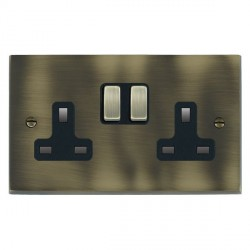 Hamilton Cheriton Victorian Antique Brass 2 Gang 13A Switched Socket - Double Pole with Black Insert and Brass Switches