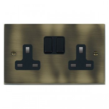 Hamilton Cheriton Victorian Antique Brass 2 Gang 13A Switched Socket - Double Pole with Black Insert and Black Switches