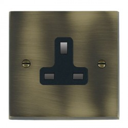 Hamilton Cheriton Victorian Antique Brass 1 Gang 13A Unswitched Socket with Black Insert