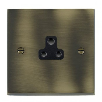 Hamilton Cheriton Victorian Antique Brass 1 Gang 2A Unswitched Socket with Black Insert