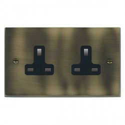 Hamilton Cheriton Victorian Antique Brass 2 Gang 13A Unswitched Socket with Black Insert