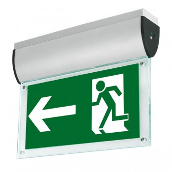 Aurora Lighting AU-EMLED21 240V Aluminium Ceiling Mounted LED Emergency Exit Sign in Satin Silver