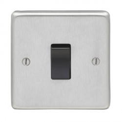 Eurolite Stainless Steel Satin Stainless 1 Gang 10amp 2way Switch with Black Insert