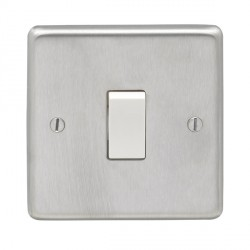 Eurolite Stainless Steel Satin Stainless 1 Gang 10amp 2way Switch with White Insert