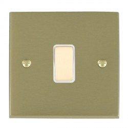 Hamilton Cheriton Victorian Satin Brass 1 Gang Multi way Touch Master Trailing Edge with White Insert