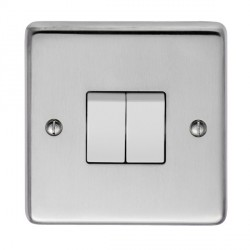 Eurolite Stainless Steel Satin Stainless 2 Gang 10amp 2way Switch with White Insert