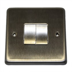 Eurolite Stainless Steel Satin Stainless 2 Gang 10amp 2way Switch with Matching Insert