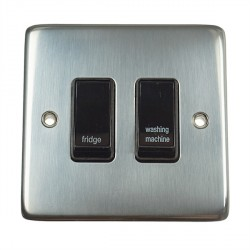 Eurolite Stainless Steel Satin Stainless 2 Gang 20amp DP Engraved Appliance Switch with Black Insert
