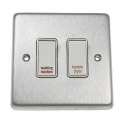 Eurolite Stainless Steel Satin Stainless 2 Gang 20amp DP Engraved Appliance Switch with White Insert