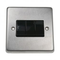 Eurolite Stainless Steel Satin Stainless 3 Gang 10amp 2way Switch with Black Insert