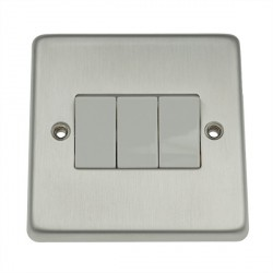 Eurolite Stainless Steel Satin Stainless 3 Gang 10amp 2way Switch with White Insert