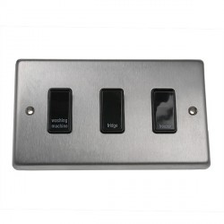 Eurolite Stainless Steel Satin Stainless 3 Gang 20amp DP Engraved Appliance Switch with Black Insert