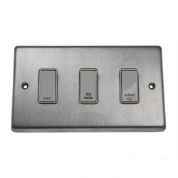 Eurolite Stainless Steel Satin Stainless 3 Gang 20amp DP Engraved Appliance Switch with White Insert