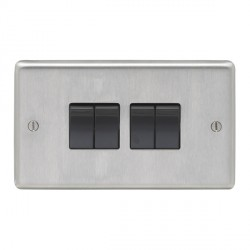 Eurolite Stainless Steel Satin Stainless 4 Gang 10amp 2way Switch with Black Insert