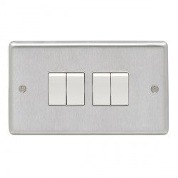 Eurolite Stainless Steel Satin Stainless 4 Gang 10amp 2way Switch with White Insert