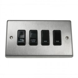 Eurolite Stainless Steel Satin Stainless 4 Gang 20amp DP Engraved Appliance Switch with Black Insert