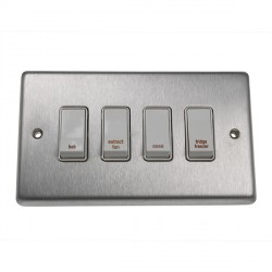 Eurolite Stainless Steel Satin Stainless 4 Gang 20amp DP Engraved Appliance Switch with White Insert