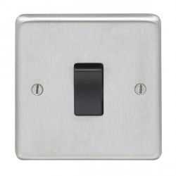 Eurolite Stainless Steel Satin Stainless 1 Gang Intermediate Switch with Black Insert